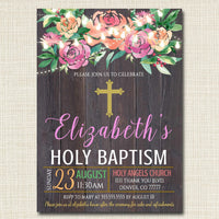 EDITABLE Floral Baptism Invitation, Christian Religious Invite Diy Confirmation Girl Communion Sacrament Party Announcement INSTANT DOWNLOAD