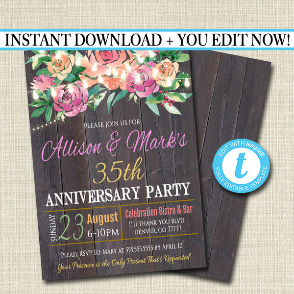 EDITABLE Rustic Floral Anniversary Party Invitation String Party Lights Wedding Invite, Country Wood Any Year Wedding Party INSTANT DOWNLOAD