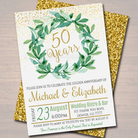 EDITABLE Anniversary Party Invitation, 50th Golden Wedding Party Invite, Watercolor Botanical Minimalist Greenery, Diy INSTANT DOWNLOAD