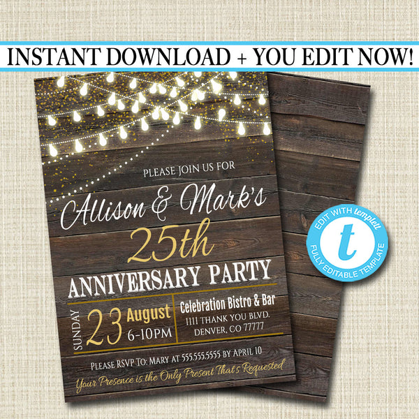 EDITABLE Rustic Wood Anniversary Party Invitation String Party Lights Wedding Invite, Country Wood Any Year Wedding Party INSTANT DOWNLOAD