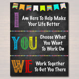 Counseling Office Poster, Therapist Decor, I We You Work Together, Social Worker Sign, Counselor Gift Confidentiality We Can do Hard Things