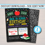 EDITABLE Back To School Birthday Party Invite, Printable Digital, Back to School, Backyard Party, End of Summer Bash, chalkboard invitation