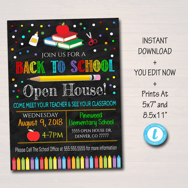 School Open House Event Flyer Invite - Printable Template