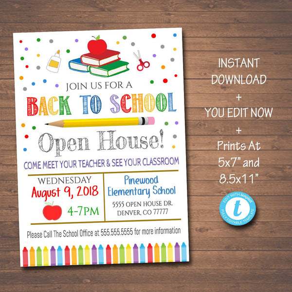 Back To School Open House Flyer - Printable Template
