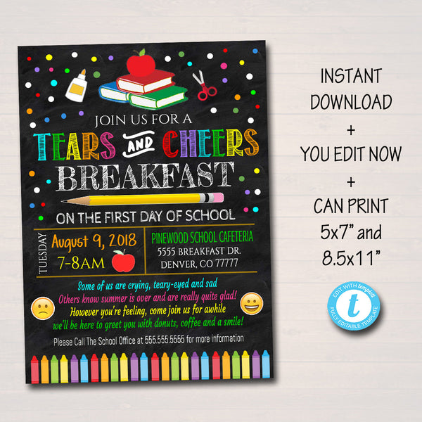 EDITABLE Tears and Cheers Breakfast, Printable PTA PTO Flyer Invite, School Fundraiser Poster, Back To School Invite, Printable Invitation