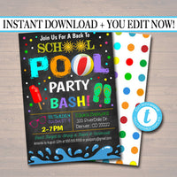 EDITABLE End of Summer Pool Party Invitation, Printable Digital Invite, Back to School, Backyard Party, Splish Splash, chalkboard invite