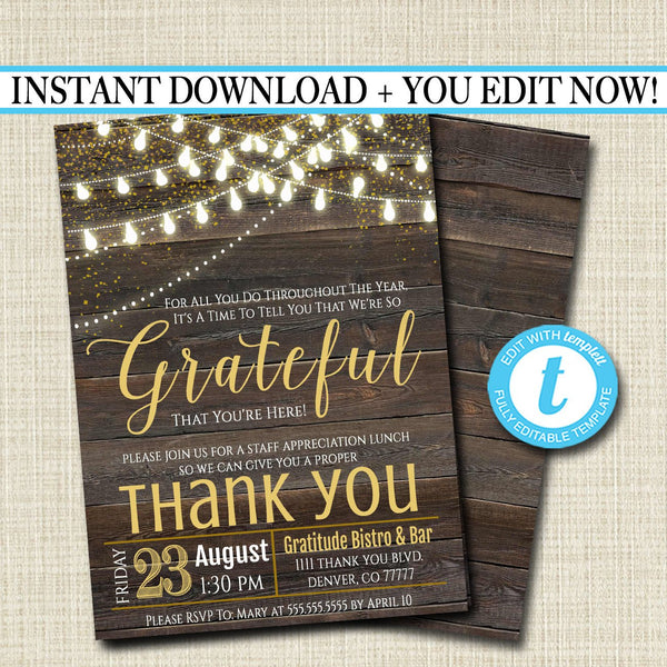 Editable Appreciation Invitation, Grateful For You Teacher Staff Invitation, Rustic Wood Printable, Boss Client Thank You, INSTANT DOWNLOAD
