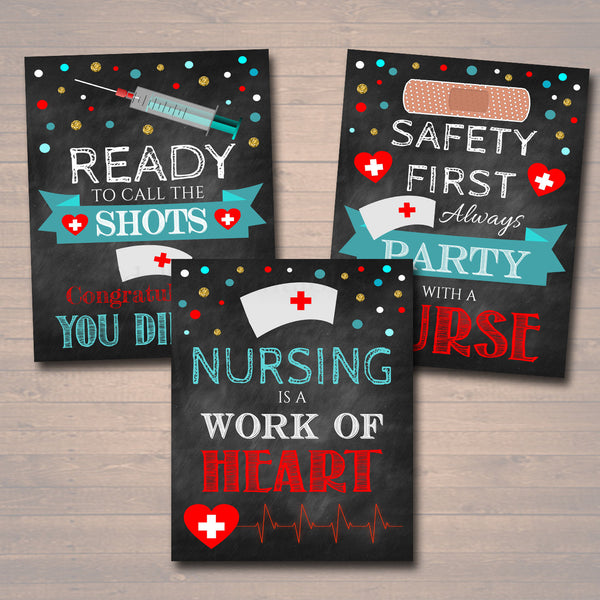 photograph relating to Printable Graduation Decorations named Nurse Commencement Celebration Indications, Chalkboard Printable, RN, Lpn School Graduate, Healthcare Grad Decorations, Celebration with a Nurse Immediate Down load