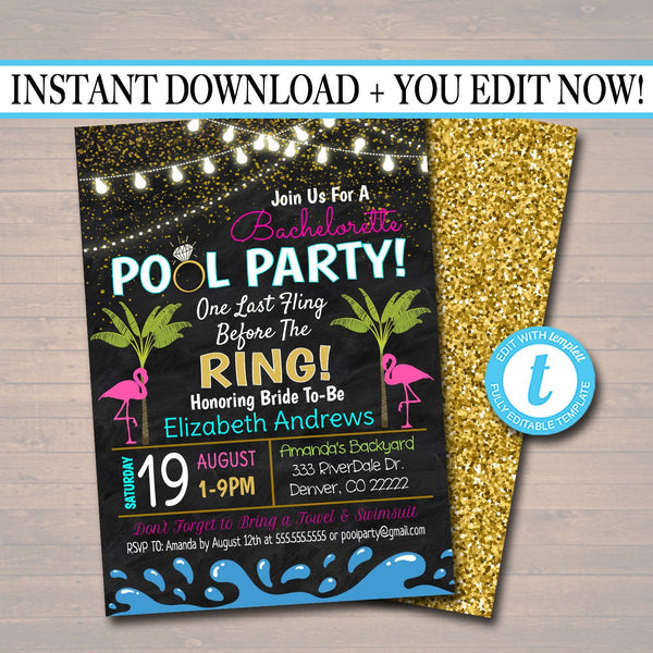 EDITABLE Pool Party Bachelorette Party Invitation, Glitter Gold Flamingo Backyard Party, Weekend Palm Beach Tropical, INSTANT DOWNLOAD