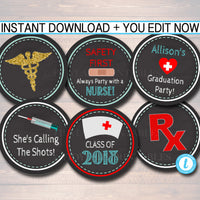 Nurse Cupcake Toppers, Printable Party Decor, Graduation Chalkboard Printable, Retirement Party, Nurse RN Invite,