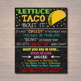Counseling Office Confidentiality Poster, Counselor Therapist Office Decor Gift, Wanna Taco Bout It Social Worker Sign, What You Say in Here