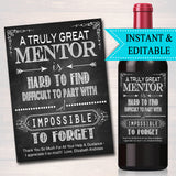 Editable Mentor Gift, A Truly Great Mentor is Hard to Find Impossible To Forget, Boss Friend Coach Farewell Parting Gift, Goodbye Retirement