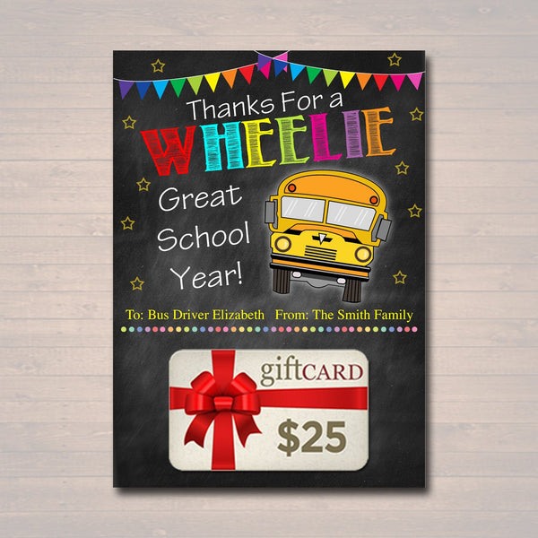EDITABLE End of School Year Bus Driver Gift Card Holder, Printable Thank You Gift, Wheelie Great School's Out Bus Driver, INSTANT DOWNLOAD