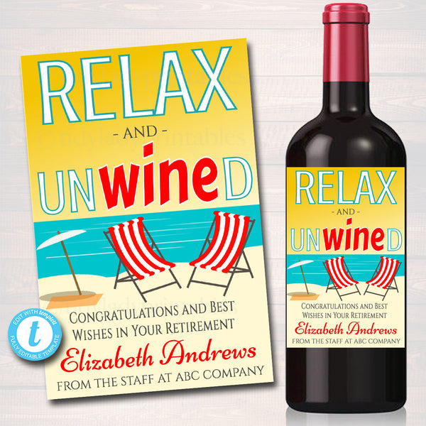 EDITABLE Retirement Gift, Printable Wine Label, INSTANT DOWNLOAD, Relax Unwind Beach, Nurse Teacher Party Decor, Company Office Staff Gift
