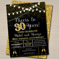 EDITABLE 30th Party Invitation, Birthday Printable Cheers to Thirty Years, Digital 30th Wedding Anniversary Invite, Black & Gold Party