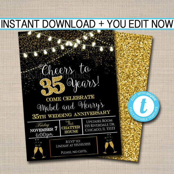 EDITABLE 35th Party Invitation, Birthday Printable Cheers to Thirty Five Years, Digital 35th Wedding Anniversary Invite, Black & Gold Party