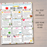 EDITABLE Monthly PTO PTA Flyer Printable Handout, School Year Fundraiser Event Volunteer Meeting Agenda Teacher Seasonal Organizer Template