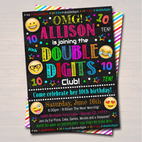 EDITABLE Double Digits Club Party Birthday Invitation, 10th Birthday Emoji Girl Tween Invite, Birthday Digital Sleepover, INSTANT DOWNLOAD