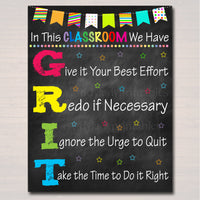 GRIT Acronym Poster, Growth Mindset, , Printable Motivational Wall Art, School Office, Classroom Decor, Teacher Chalkboard