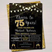 EDITABLE 75th Party Invitation, Birthday Printable Cheers to Seventy Five Years, Digital 75th Wedding Anniversary Invite, Black & Gold Party
