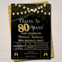 EDITABLE 80th Party Invitation, Birthday Printable Cheers to Eighty Years, Digital 80th Company Office Anniversary Invite Black & Gold Party