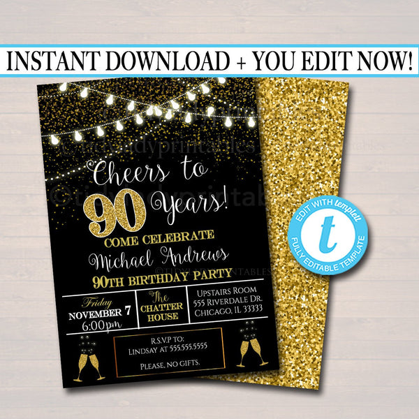 EDITABLE 90th Party Invitation, Birthday Printable Cheers to Ninety Years, Digital 90th Company Office Anniversary Invite Black & Gold Party