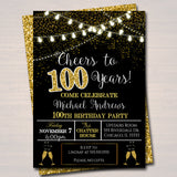 EDITABLE 100th Party Invitation, Birthday Printable Cheers to One Hundred Years, Digital 100th Company Office Anniversary Black & Gold Party