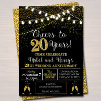 EDITABLE 20th Party Invitation, Birthday Printable Cheers to Twenty Years, Digital 20th Wedding Anniversary Invite, Black & Gold Party Decor