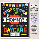 Stop Crying Mommy Back to School Photo Prop, Daycare BOY School, Mom Chalkboard Sign, 1st Day of Daycare Sign, Funny Prop, INSTANT DOWNLOAD