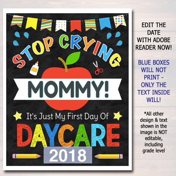 Stop Crying Mommy Back to School Photo Prop, Daycare BOY