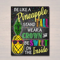 Be Like a Pineapple, School Counselor Poster Teen Tween Bedroom Decor Classroom Poster, Social Worker Office Decor Motivational Class Poster