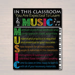 MUSIC Classroom Poster,  Music Classroom Decor, Classroom Rules Poster, High School Music Choir Band Teacher Professor, Music Decorations