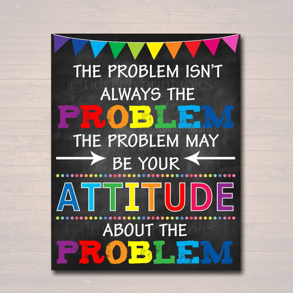 Counselor Office Decor, High School Math Problems Classroom Poster, Attitude May Be The Problem Motivational Teen Psychologist, Principal