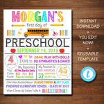 EDITABLE Back to School Photo Prop Back to School White Background Poster Personalized School About Me Sign Any Grade Sign 1st Day of School
