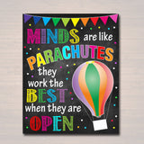 Minds are like Parachutes, School Counselor Poster Teen Tween Bedroom Decor Classroom Poster, Social Worker Office Motivational Class Poster