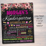 EDITABLE Back to School Photo Prop, Floral Girl Chalkboard Poster, Personalized School Chalkboard Sign, Any Grade Sign 1st Day of School