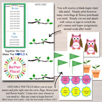 Multi Level Troop Kaper Chart & Meeting Board INSTANT + EDITABLE Brownie, Troop Leader, Daisy Meetings, All Ages, Flower and Owl Design