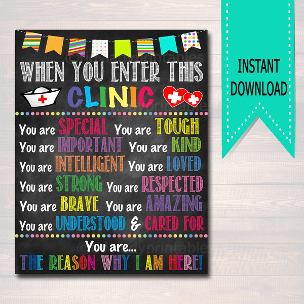 Printable School Health Office Poster Pediatric Clinic Decor Printable, Health Room When you Enter This Clinic Sign Custom School Nurse Gift