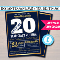 Editable Reunion Invitation Template - Any Year! Any School Colors! College, High School Reunion Faux gold foil Invite INSTANT DOWNLOAD