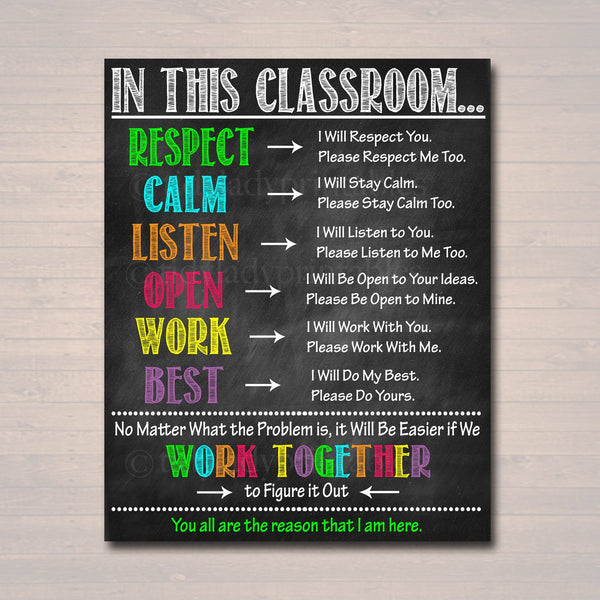 Classroom Decor, High School Teacher Printable Poster, Expectations Rules Respect Teen Class Decor, Behavior Classroom Management Printable