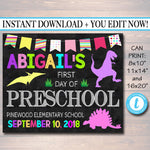 EDITABLE GIRL Back to School Photo Prop, Back to School Chalkboard Poster, Dinosaur Prop Chalkboard Sign, Any Grade Sign 1st Day of School