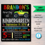EDITABLE Boy ANY Year Resuable Back to School Photo Prop Template, Chalkboard Poster, Editable Truck Printable Sign, First 1st Day of School