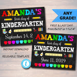 Back to School Sign, First Day of School Chalkboard Poster Personalized School Chalkboard Sign, Any Grade Sign, 1st Day of School, Editable