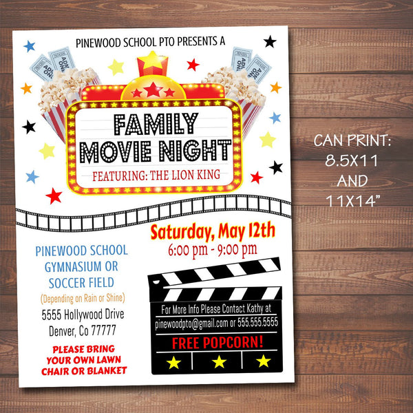 family movie night event flyer tidylady printables. Black Bedroom Furniture Sets. Home Design Ideas