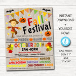 EDITABLE Fall Festival Fall Harvest Flyer/Poster Printable Halloween Invitation, Community Halloween Event, Church School Halloween Party