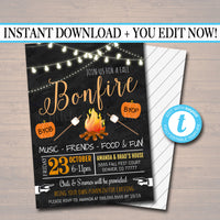 Fall Harvest Bonfire Invitation, Family Picnic, BBQ Invite, EDITABLE Printable Invitation Chili Cookoff, S'mores Pumpkin Carving Party Party