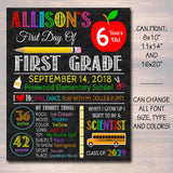 EDITABLE Back to School Photo Prop Back to School Chalkboard Poster Personalized School Chalkboard Sign, Any Grade Sign, 1st Day of School