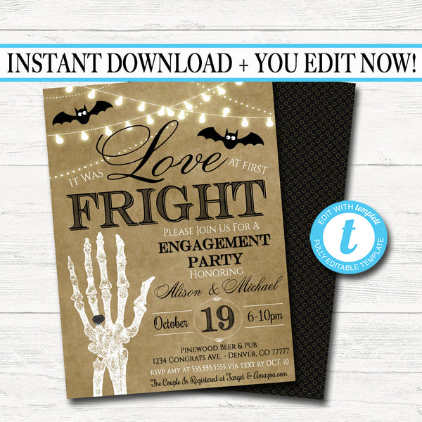 EDITABLE Halloween Bridal Couples Shower Party Invitation, Wedding Halloween Bachelorette Invite Love at First Fright, INSTANT DOWNLOAD
