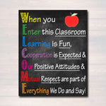 Welcome Acronym Printable Poster - Educational Motivational Decor Teacher Sign