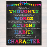 Classroom Printable Poster, Counselor Office Decor, High School Middle School Classroom, Thoughts Words Actions Character Motivational Decor